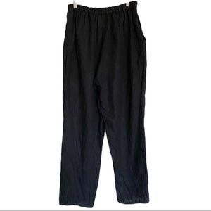 Flax Black High Waisted Lagenlook Linen Pants Smll